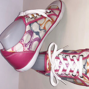 COACH BARRETT Pink Multi Canvas Sneaker Size 9 1/2